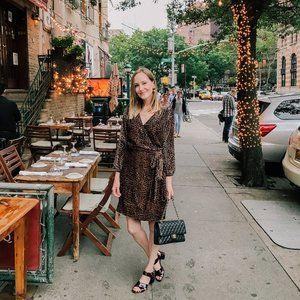J Crew Wrap dress in drapey velvet blush leopard